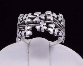 Irish Spray of Shamrock Sterling Silver Ring