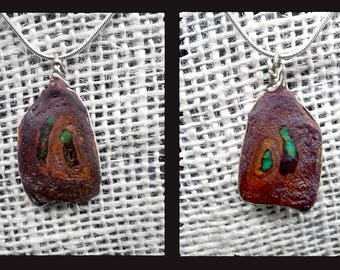 Fire Opals Set in Petrified Wood Slice Fossil Wrapped in Sterling Silver Wire Pendant on a Sterling Silver Snake Chain Necklace