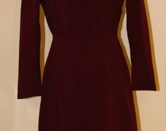 "XSm vintage 1940's , cranberry colored wool dress, 24"" waist"