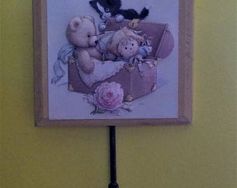 3D Wall Art, Kitten playing in a Toy Box, cat, toys, bear