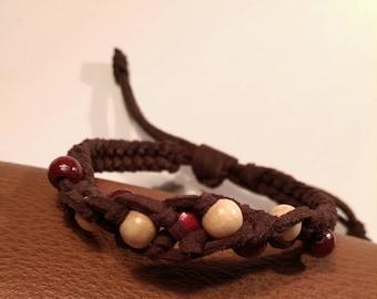 Genuine leather spiral bracelet wooden beads