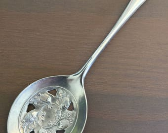 Silverplate slotted serving spoon