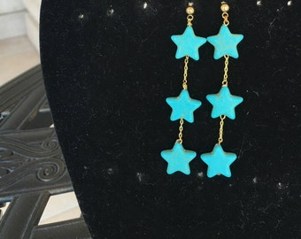 Turquoise Stars  Earrings by Dobka
