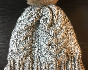 Hand Knit Hat with Faux Fur Pom Pom