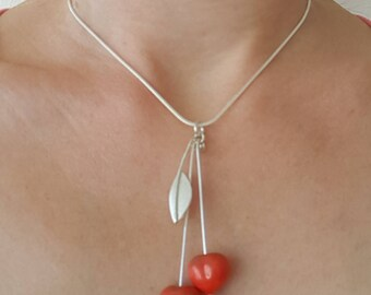 Pendant cherry necklace silver glass patches