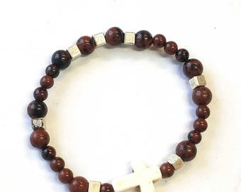 Mahogany Obsidian bead and white cross + metal Bead Bracelet