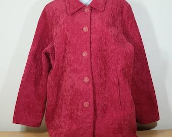 Jacket coat vintage, Creamy red Ivory Knit Jacket, Polyester Jacket, 1980s
