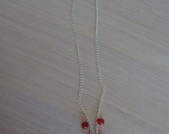 Chain silver necklace with pearls Red