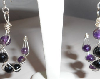 Earrings in 925 sterling silver and silver copper and Amethyst beads