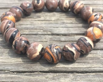 Hand-rolled Polymer Clay Beads. Earth Tones, Brown, Tan, Black, Gold & Copper Shimmer.