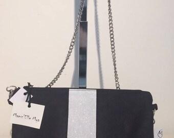 Shoulder bag black and white glitter