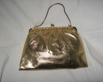 Retro 50's Gold Lame Evening Handbag Convertible Clutch