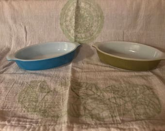 2 Vintage 1970s Pyrex Pixie Casserole Mini Dishes Aqua Blue & Olive Green 10 Oz.