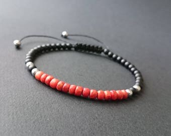 Natural coral, gorgonian, matte black onyx and hematite silver man bracelet