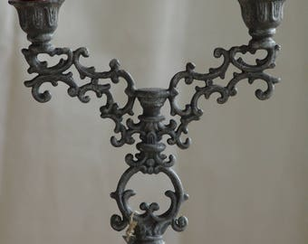 Candle holder 2 branches gray zinc patina