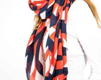 Monogrammed Navy Blue Orange White Scarf with Abstract Geometric Stripes Print Detail/Shawls Wraps/Scarves for Women Ladies/Gift for Her