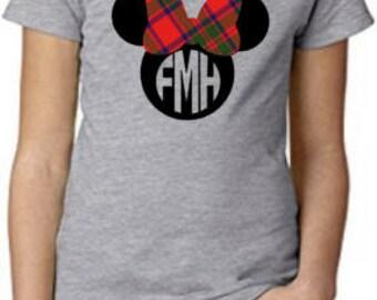 Minnie Mouse Tartan Bow Kids Clan Mackintosh T-Shirt