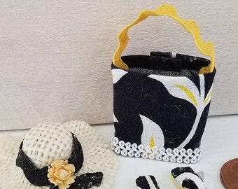 Miniature Beach Bag, Hat, Flip Flops, Beach Accessories, Dollhouse Miniatures, Dollhouse Accessories, Vacation, Beach Decor, Summer