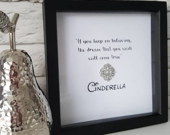 Disney inspired quote box frame with sparkly crystal embellishment. For stylish homes, gifts, birthday, Christmas, anniversary, nursery