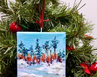 "Hanging ornament, Trees in the snow , original signed painting acrylic on 4""x4"" canvas"