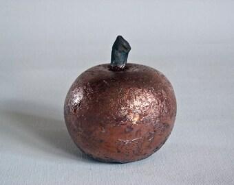 APPLE - ceramic handmade, raku fired, bronze apple, one of a kind.