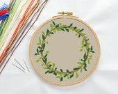 PATTERN: Wreath (2) Cross Stitch Pattern, Modern Cross Stitch Pattern, Cute Cross Stitch Pattern, Instant Download PDF