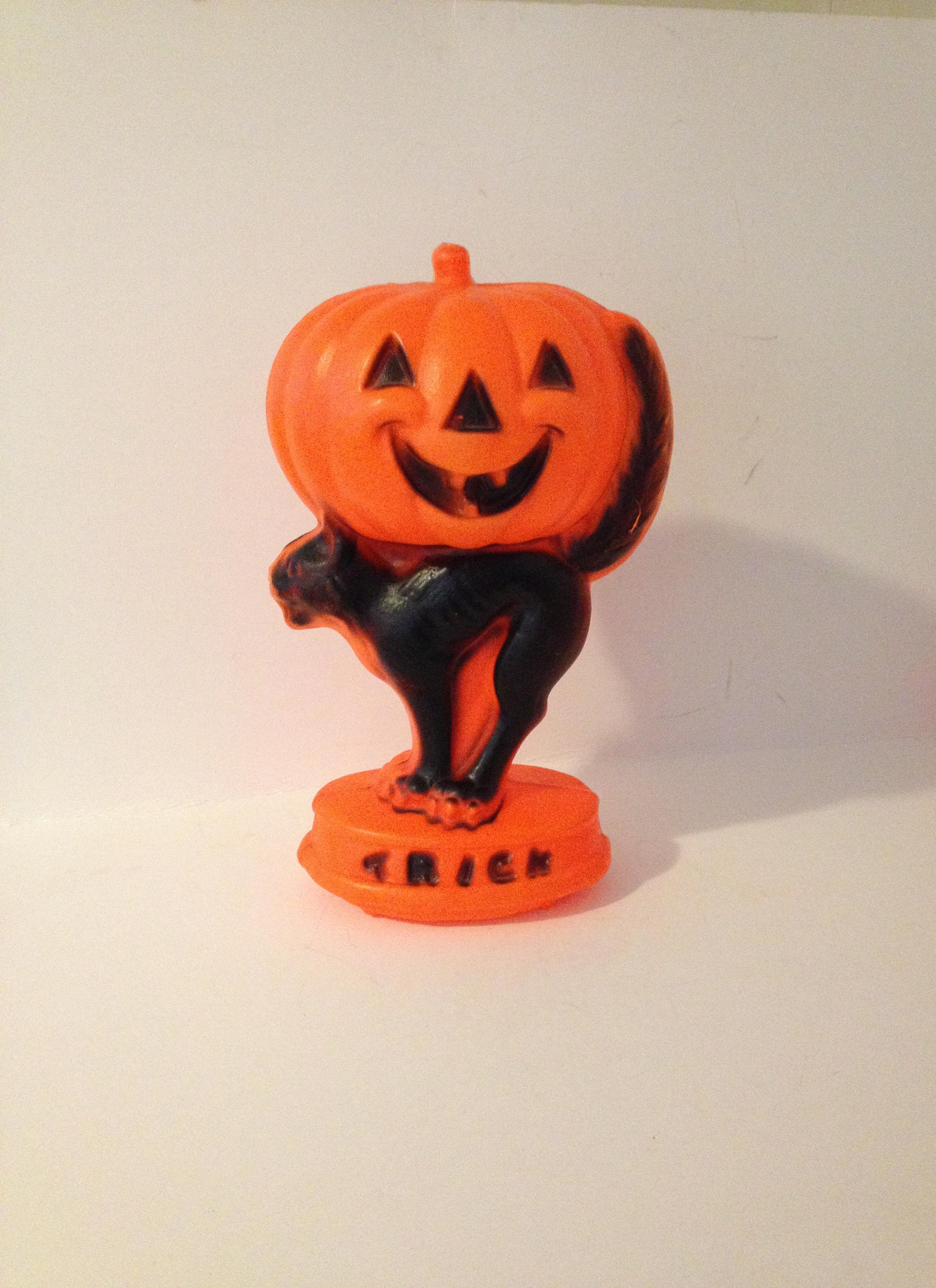 vintage 1985 retro empire plastic halloween pumpkin jack o lantern jol black cat trick or treat
