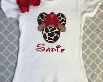 Minnie Mouse Safari Applique Embroidered Shirt, Animal Kingdom Minnie Mouse Shirt Or Bodysuit, Disney Safari Shirt, Disney World Shirt