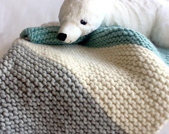 Chunky Knit Baby Blanket, 100% Peruvian Wool Baby Blanket