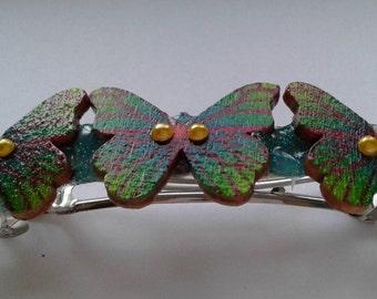 Green butterfly barette
