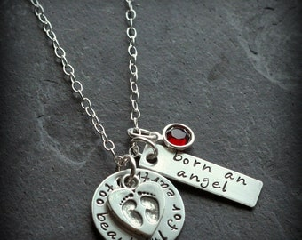 Born An Angel Infant Loss Miscarriage Personalized Hand Stamped Mommy Necklace