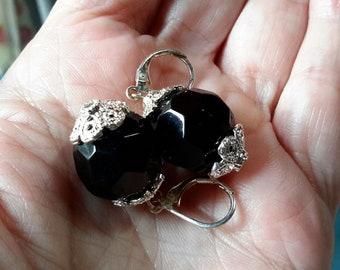 1970's Chunky Black Aurora Borealis Crystal Drop Earrings