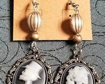 Victorian skeleton couple cameo earrings
