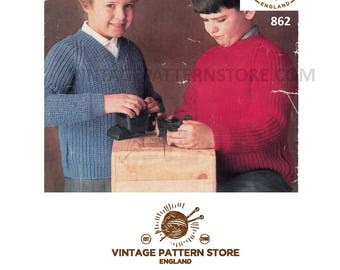 "Boys girls, 1960s, easy to knit, round or V neck, raglan sweater - 28"" - 32"" chest - Vintage PDF Knitting Pattern 862"
