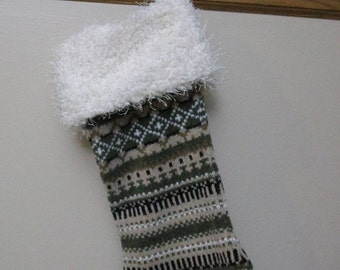 Upcycled Sweater Christmas Stocking, Handmade