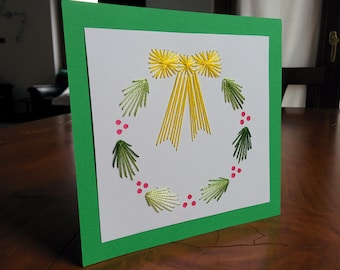 Christmas greeting card, hand embroidered Christmas garland with silk threads