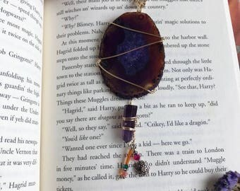 AGATE SLICE + AMETHYST | necklace | purple | boho | gold