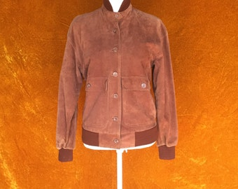 Vintage 1980s Brown Suede Fitted Bomber Jacket