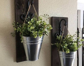 Wall Mounted Rustic Sconces, Wood Sconce, Hanging Planter,Mason Jar Holder, Farmhouse Wall Decor, Country Home, Rustic Wall Decor, Set of 2