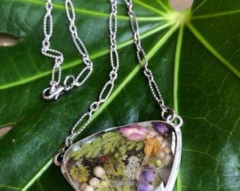 BOTANICAL Pendant Necklace | Handmade Bezel | Real Flowers | Terrarium Necklace