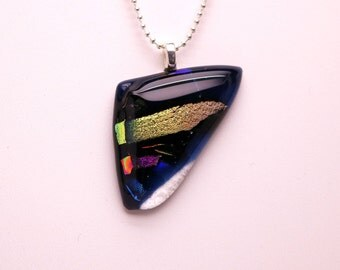 Triangular Blue Dichroic Glass Pendant, Dichroic Glass Necklace, Colorful Fused Glass Pendant, Multi-Color Glass Necklace, Iridescent Glass