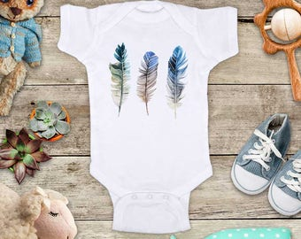 Three feathers watercolor tribal boho hipster hippie bohemian design baby bodysuit baby shower gift - Made in USA - toddler kids youth shirt