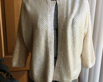 Vintage White pearly sequinned cardigan - size S