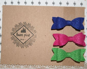 Felt Bow Hair Clip Set | Pink Bow Barrette | Blue Bow Barrette | Green Bow Barrette | Hair Clip Set of 3 | Felt Bow Set | Toddler Gift