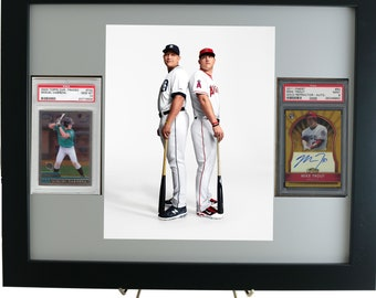 Graded Sports Card Frame for (2) PSA Vertical Cards & 8 x 10 Vertical Photo Opening
