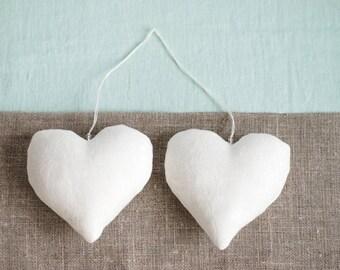 Wedding anniversary gift, white hanging hearts, linen stuffed heart, housewarming gift, cottage chic wedding, white wedding decor