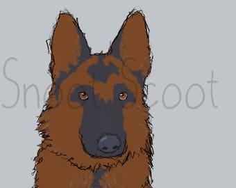 German Shepherd Digital Art Print