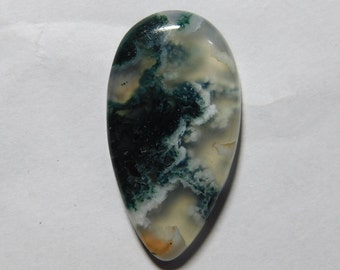 Beautiful Top Quality Natural Moss Agate Pear Shape Cabochon 24.00 Cts (33X18X5) MM Free Shipping