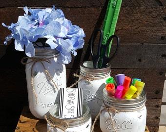 Painted Mason Jar Office Set, Farmhouse Desk Set, Desk Organizer