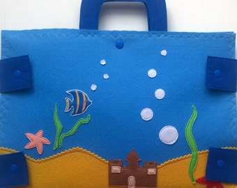 Magnetic Fishing Game/Felt Sea Animals with Fishing Rob/Sensory Toy Felt Toddler activity/Educational Toy/Felt Sea Creatures/Gift for Kids